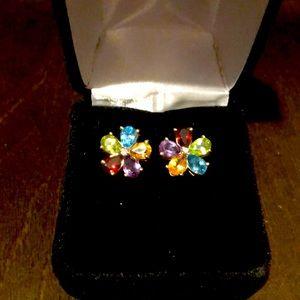 14k gold with 5 semi precious stones earrings